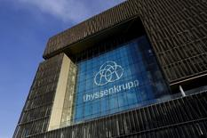 Thyssenkrupp AG's new company logo adorns it's headquarters in Essen, Germany in this November 19, 2015 file photo. REUTERS/Ina Fassbender/Files