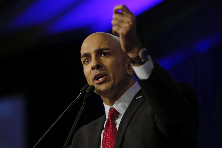 Neel Kashkari speaks on stage during the California Republican Party Spring Convention in Burlingame, California in this file photo taken March 16, 2014.    REUTERS/Stephen Lam/Files
