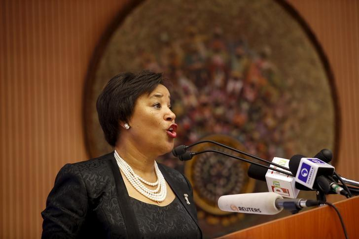Patricia Scotland, Secretary-General Designate of the Commonwealth, speaks during the opening session of a Public Lecture on Nigeria and the commonwealth of Nations in Abuja, Nigeria February 18, 2016. REUTERS/Afolabi Sotunde