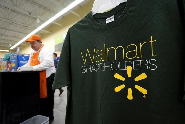 Souvenir t-shirts are seen for sale at the Wal-Mart Neighborhood Market in Bentonville, Arkansas, June 4, 2015.    REUTERS/Rick Wilking