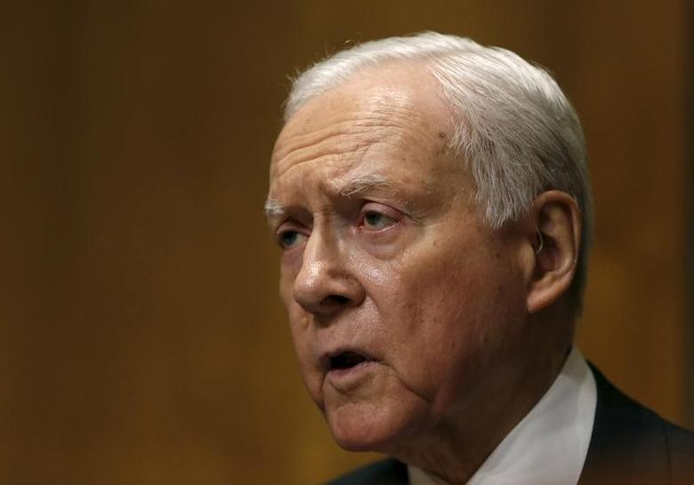 The Senate Finance Committee chair Senator Orrin Hatch (R-UT) delivers remarks at a hearing on ''Examining the Opioid Epidemic: Challenges and Opportunities'' in Washington February 23, 2016.    REUTERS/Gary Cameron