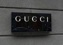 The logo of Gucci is pictured outside a Gucci store in Kiev, Ukraine, March 14, 2016. REUTERS/Gleb Garanich