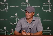 Apr 5, 2016; Augusta, GA, USA;  Defending Masters champion Jordan Spieth answers questions during a Tuesday press conference for the 2016 Masters at Augusta National GC. Mandatory Credit: Michael Madrid-USA TODAY Sports