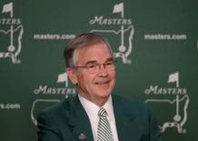 Apr 6, 2016; Augusta, GA, USA; Augusta National Golf Club chairman Billy Payne speaks at a press conference during a practice round prior to the 2016 The Masters golf tournament at Augusta National Golf Club. Mandatory Credit: Michael Madrid-USA TODAY Sports