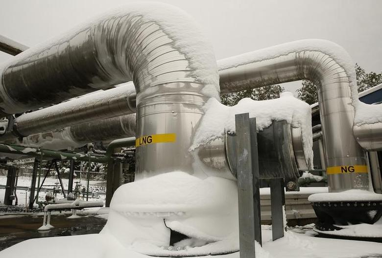 Snow covered transfer lines are seen at the Dominion Cove Point Liquefied Natural Gas (LNG) terminal in Lusby, Maryland March 18, 2014. REUTERS/Gary Cameron