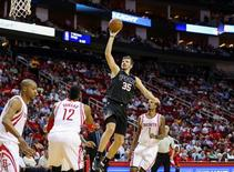 Apr 7, 2016; Houston, TX, USA; Phoenix Suns forward Mirza Teletovic (35) shoots the ball during the second quarter against the Houston Rockets at Toyota Center. Mandatory Credit: Troy Taormina-USA TODAY Sports