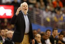 Jan 20, 2015; Denver, CO, USA; San Antonio Spurs head coach Gregg Popovich during the second half against the Denver Nuggets at Pepsi Center. The Spurs won 109-99. Mandatory Credit: Chris Humphreys-USA TODAY Sports