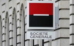 A French Bank Societe Generale logo is seen on the facade of their building in Paris, March 3, 2016.  REUTERS/Christian Hartmann