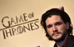 Kit Harrington, que interpreta Jon Snow, durante evento em Londres.    18/03/2015      REUTERS/Toby Melville