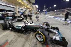 Formula One - Bahrain Grand Prix - Sakhir, Bahrain - 01/04/16 - Mercedes Formula One driver Lewis Hamilton of Britain leaves the pitlane during the second practice. REUTERS/Hamad I Mohammed.