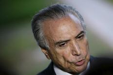 Vice-presidente Michel Temer durante entrevista coletiva em Brasília. 11/04/2016 REUTERS/Ueslei Marcelino