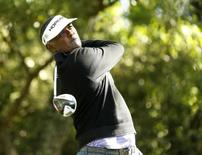 Apr 7, 2016; Augusta, GA, USA; Vijay Singh hits his tee shot on the 2nd hole during the first round of the 2016 The Masters golf tournament at Augusta National Golf Club. Mandatory Credit: Rob Schumacher-USA TODAY Sports