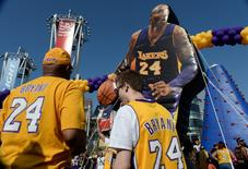 Apr 13, 2016; Los Angeles, CA, USA; Kobe Bryant fans look at an interactive area in front of Staples Center before the start of the Los Angeles Lakers game against the Utah Jazz which will by Bryant's final game of his career. Mandatory Credit: Robert Hanashiro-USA TODAY Sports