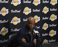 Mar 30, 2016; Los Angeles, CA, USA; Los Angeles Lakers head coach Byron Scott at press conference related to guard D'Angelo Russell (1) and forward Nick Young (0) at Staples Center. Mandatory Credit: Richard Mackson-USA TODAY Sports