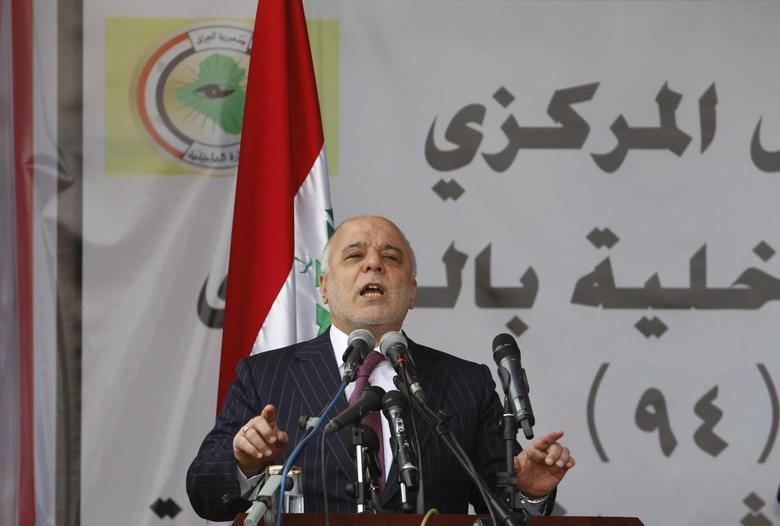 Iraqi Prime Minister Haider al-Abadi speaks on Iraqi Police Day at a police academy in Baghdad, in this file picture taken January 9, 2016. REUTERS/Khalid al Mousily/Files