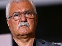 """Представитель сирийской оппозиции Джордж Сабра на пресс-конференции в штаб-квартире ООН в Женеве 17 марта 2016 года. Приостановка сирийской оппозицией мирных переговоров имеет бессрочный характер, их возобновление зависит от """"корректировки траектории переговоров"""" и развития событий в Сирии, сказал во вторник высокопоставленный представитель оппозиции. REUTERS/Denis Balibouse"""