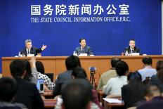 Xu Dazhe (C), head of China National Space Administration attends a news conference in Beijing, China, April 22, 2016. China Daily/via REUTERS ATTENTION.