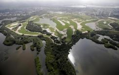 An aerial view of the construction site of the Rio 2016 Olympic Golf venue in Rio De Janeiro, Brazil, July 29, 2015. REUTERS/Ricardo Moraes