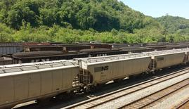 Coal trains approach Norfolk Southern's Williamson rail yard in Williamson, West Virginia at the border of Pike County, Kentucky May 13, 2015. Picture taken May 13, 2015.
