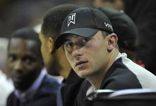 Oct 17, 2014; Cleveland, OH, USA; Cleveland Browns quarterback Johnny Manziel watches the Dallas Mavericks at Cleveland Cavaliers NBA game at Quicken Loans Arena.  REUTERS/David Richard-USA TODAY Sports/File photo