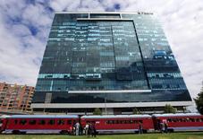 La sede de Pacific Rubiales en Bogotá, mar 8, 2015. El productor canadiense de petróleo y gas Pacific Exploration & Production (E&P) anunció el martes que sus acciones ordinarias serán retiradas de la Bolsa de Valores de Toronto a partir del 25 de mayo, una decisión que también sacará los títulos de la Bolsa de Colombia.  REUTERS/Jose Miguel Gomez