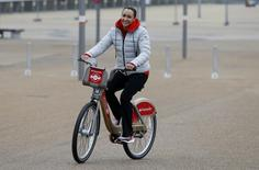 Jessica Ennis Hill at the launch of Santander Cycles expansion of new docking stations at Queen Elizabeth Olympic Park, including some special edition gold cycles, to reflect the link to the London 2012 cycling legacy Action Images via Reuters / Peter Cziborra