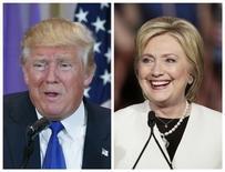 Pré-candidato republicano Donald Trump e pré-candidata democrata Hillary Clinton.  01/03/2016    REUTERS/Scott Audette (E), Javier Galeano (D)
