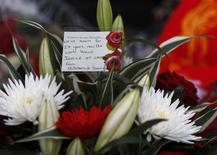 Floral tributes are left at the Hillsborough memorial in Liverpool, northern England April 27, 2016.REUTERS/Phil Noble