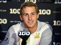 Jul 31, 2015; Burbank, CA, USA; California Golden Bears quarterback Jared Goff at Pac-12 Media Day at Warner Bros. Studios. Mandatory Credit: Kirby Lee-USA TODAY Sports