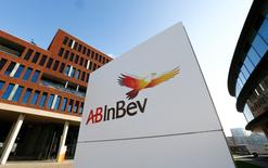 The logo of Anheuser-Busch InBev is pictured outside the brewer's headquarters in Leuven, Belgium February 25, 2016. REUTERS/Yves Herman