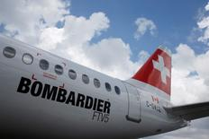 A Bombardier C Series aircraft is displayed at the Singapore Airshow at Changi Exhibition Center February 18, 2016.  REUTERS/Edgar Su/File Photo