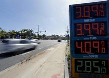 The current price of gasoline is shown on a gas station sign in Encinitas, California August 4, 2015. REUTERS/Mike Blake