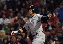 May 1, 2016; Boston, MA, USA; New York Yankees designated hitter Alex Rodriguez (13) hits an RBI double during the fifth inning against the Boston Red Sox at Fenway Park. Mandatory Credit: Bob DeChiara-USA TODAY Sports