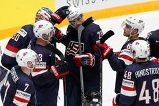 2016 IIHF World Championship - Group B - U.S. v Belarus - St. Petersburg, Russia - 7/5/16 - Players of the U.S. celebrate victory over Belarus. REUTERS/Maxim Zmeyev