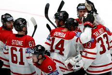 2016 IIHF World Championship - Group B - Canada v Belarus - St. Petersburg, Russia - 9/5/16  - Players of Canada celebrate the victory over Belarus. REUTERS/Maxim Zmeyev