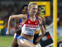 Yuliya Rusanova of Russia competes during the woman's 800 metres semi-final heat 1 at the IAAF World Championships in Daegu September 2, 2011.   REUTERS/Michael Dalder