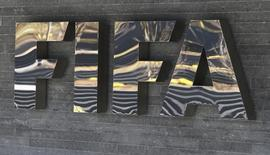 The FIFA logo is seen at the FIFA headquarters in Zurich, Switzerland March 18, 2016. REUTERS/Ruben Sprich