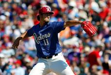 May 1, 2016; Frisco, TX, USA; Frisco RoughRiders starting pitcher Yu Darvish (11) in action against the Corpus Christi Hooks at Dr Pepper Ballpark. Darvish is on a rehab assignment for the Texas Rangers after Tommy John surgery in 2015. Mandatory Credit: Ray Carlin-USA TODAY Sports