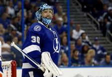Apr 27, 2016; Tampa, FL, USA; Tampa Bay Lightning goalie Ben Bishop (30) reacts as an official calls a penalty against the New York Islanders during the second period in game one of the second round of the 2016 Stanley Cup Playoffs at Amalie Arena. Mandatory Credit: Kim Klement-USA TODAY Sports