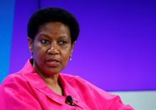 Phumzile Mlambo-Ngcuka, Undersecretary-General and Executive Director, United Nations Entity for Gender Equality and the Empowerment of Women (UN WOMEN), addresses the session 'Ending Poverty through Parity' in the Swiss mountain resort of Davos January 24, 2015. REUTERS/Ruben Sprich