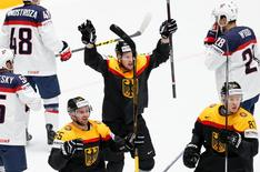 2016 IIHF World Championship - Group B - Germany v U.S. - St. Petersburg, Russia - 15/5/16 - Germany's players celebrate a goal. REUTERS/Maxim Zmeyev