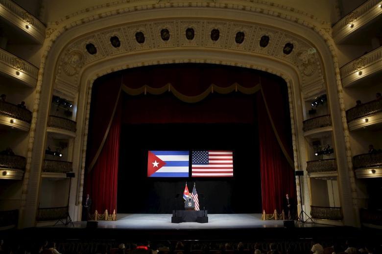 U.S. President Barack Obama delivers a speech to the Cuban people in the Gran Teatro de la Habana Alicia Alonso in Havana, March 22, 2016. REUTERS/Carlos Barria