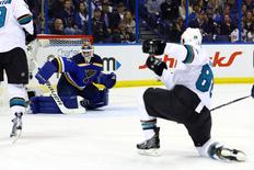 May 17, 2016; St. Louis, MO, USA; San Jose Sharks defenseman Brent Burns (88) scores a goal against St. Louis Blues goalie Brian Elliott (1) during the second period in game two of the Western Conference Final of the 2016 Stanley Cup Playoff at Scottrade Center. Mandatory Credit: Billy Hurst-USA TODAY Sports
