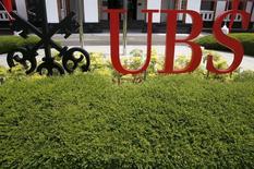 El banco suizo UBS aumentó el miércoles su previsión de crecimiento de España, Alemania y Francia para el año actual, pero disminuyó la de Italia. En la imagen, un logo de UBS en su centro de innovación en Singapur, el 17 de marzo de 2016. REUTERS/Edgar Su