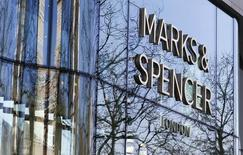 A Marks & Spencer logo is seen on a shop in downtown Brussels, Belgium March 10, 2016.   REUTERS/Yves Herman