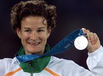 Ireland's Sonia O'Sullivan holds her silver medal for the 5000m final at the Sydney Olympic Games, September 25, 2000 in this file photo.