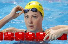 Australia's Cate Campbell reacts after the women's 100m freestyle semi-final at the Aquatics World Championships in Kazan, Russia, August 6, 2015. REUTERS/Michael Dalder