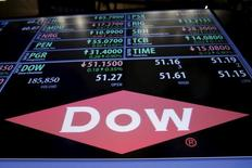The Dow Chemical logo is displayed on a board above the floor of the New York Stock Exchange shortly after the opening bell in New York, December 22, 2015. REUTERS/Lucas Jackson