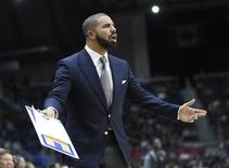 Feb 12, 2016; Toronto, Ontario, Canada; Canada celebrity head coach Drake during the All-Star celebrity basketball game at Ricoh Coliseum. Mandatory Credit: Peter Llewellyn-USA TODAY Sports