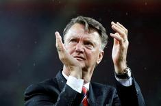 Britain Football Soccer - Manchester United v AFC Bournemouth - Barclays Premier League - Old Trafford - 17/5/16Manchester United manager Louis van Gaal applauds fans during a lap of honour after the gameAction Images via Reuters / Carl Recine